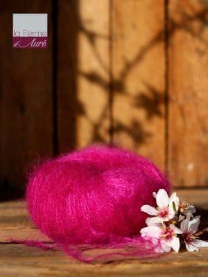 Pelote de laine mohair et soie rose thyrien - Mohair de la Ferme d'Auré