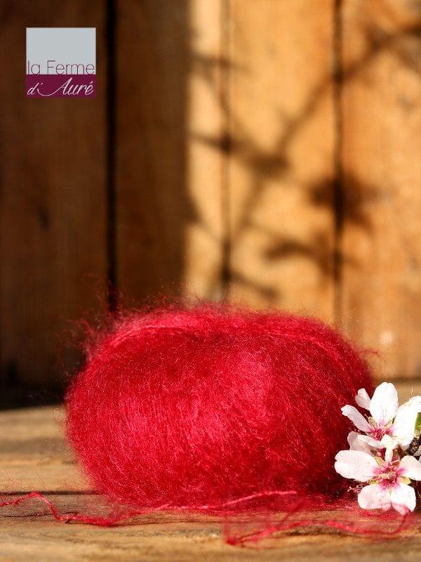 Pelote de laine mohair et soie rouge grenade - Mohair de la Ferme d'Auré