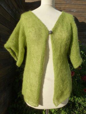 tricot sur mesure gilet mohair et soie vert