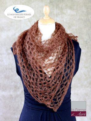 Echarpe mohair et soie foulard cannelle par la Ferme d'Auré
