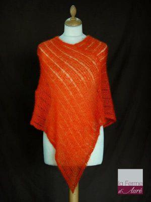 Poncho laine mohair et soie orange tricot main vue de face