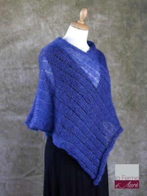 Poncho Mohair Soie Riviera coloris Bleu Pacifique par la Ferme d'Auré - 2