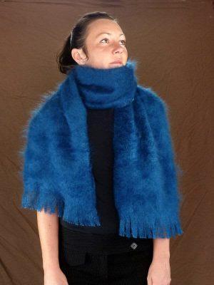 echarpe en laine mohair très chaude bleu canard