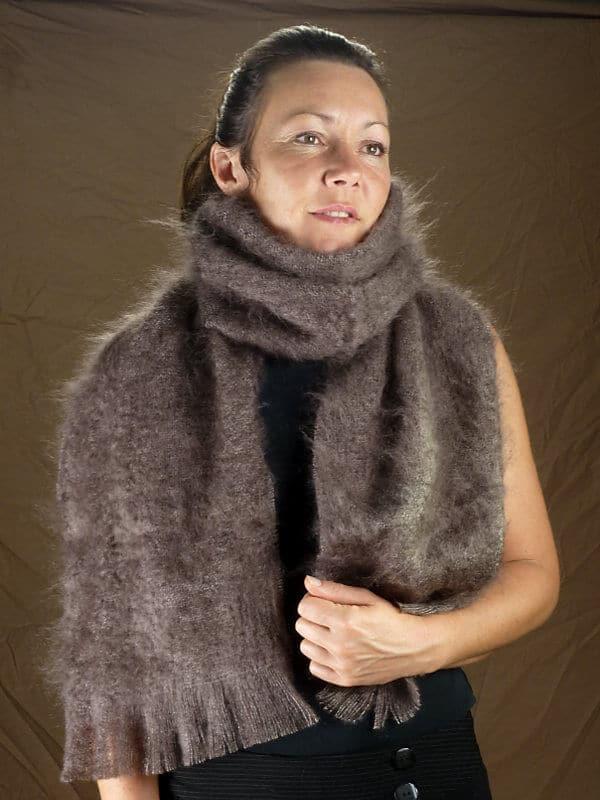 grande echarpe laine mohair marron face laine mohair la ferme d 39 aur. Black Bedroom Furniture Sets. Home Design Ideas