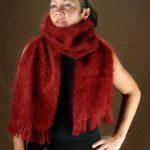echarpe laine mohair rouge par la Ferme d'Auré