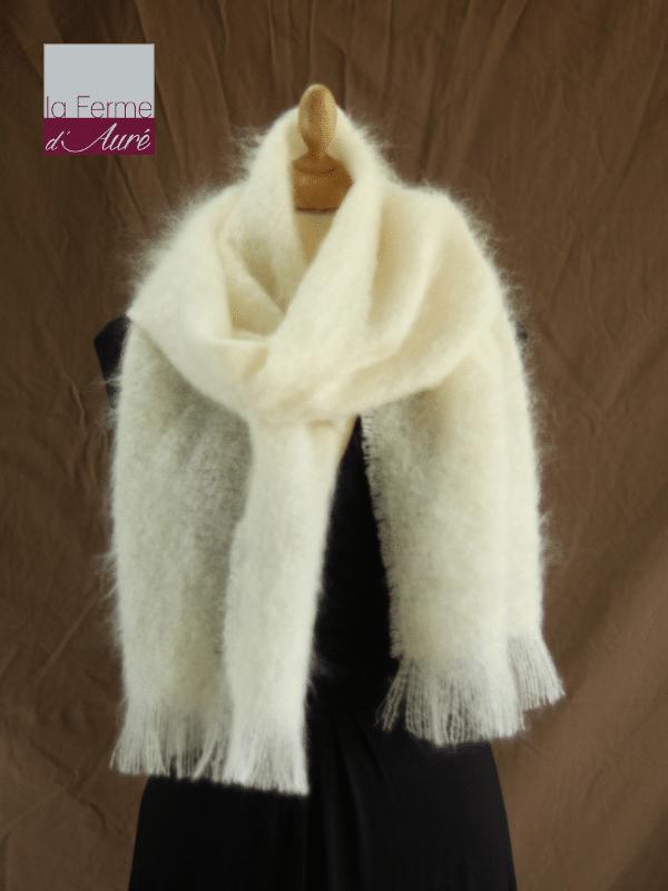 Grande écharpe laine mohair écru - Mohair Ferme d'Auré