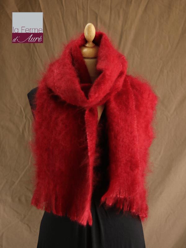 Grande écharpe laine mohair rouge grenade - Mohair Ferme d'Auré