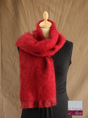 echarpe laine mohair et soie rouge grenade petit modele