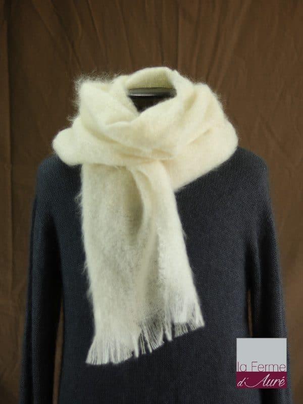 Grande écharpe laine mohair pour homme coloris écru - Mohair Ferme d'Auré