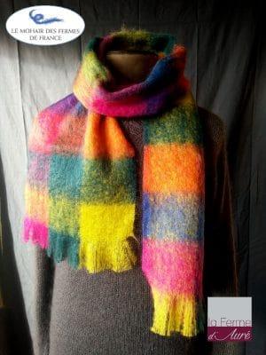 Grande Echarpe laine Homme Multicolore - Mohair et soie