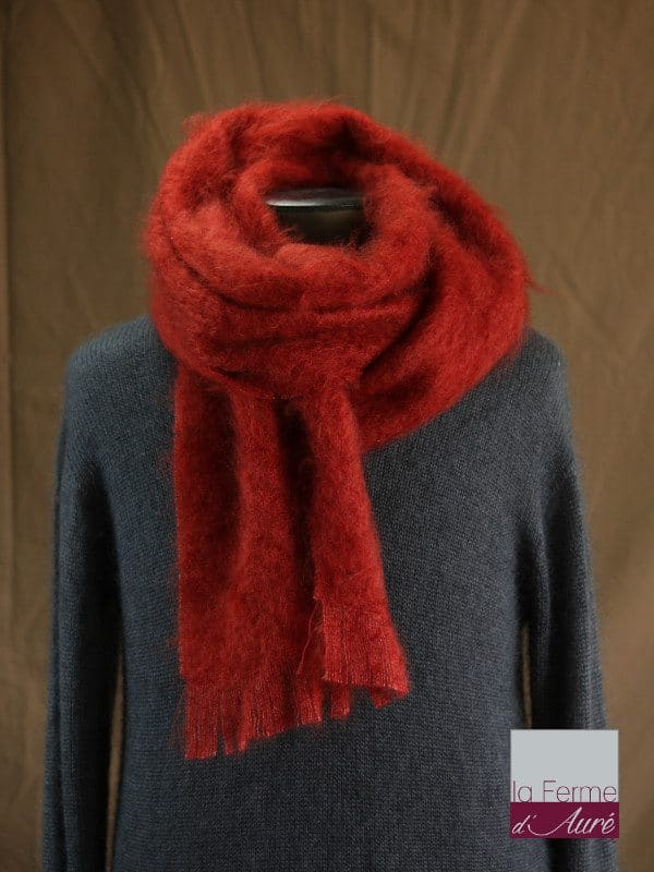 Grande écharpe laine mohair pour homme coloris rouge - Mohair Ferme d'Auré