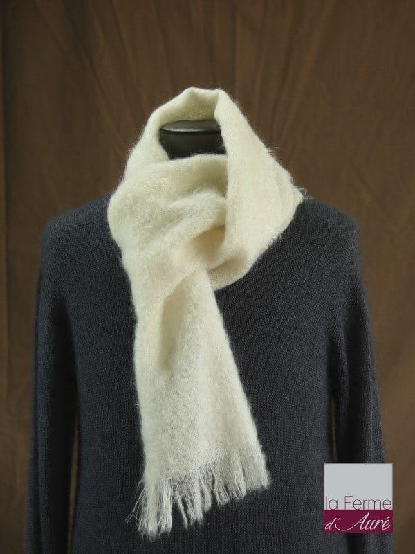 écharpe laine mohair pour homme coloris écru - Mohair Ferme d'Auré