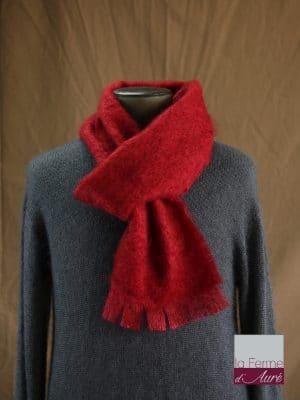 écharpe laine mohair pour homme coloris rouge - Mohair Ferme d'Auré