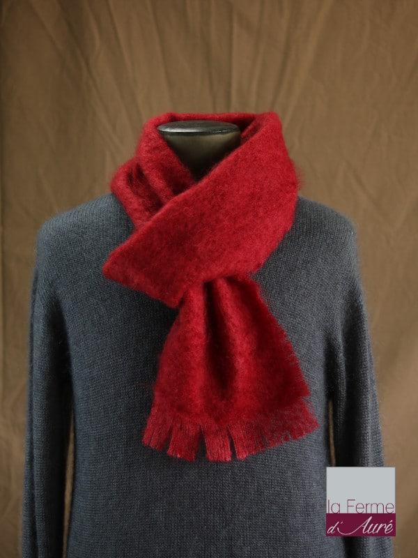 a4857e7f3b7c écharpe laine mohair pour homme coloris rouge - Mohair Ferme d Auré. écharpe  laine mohair pour homme coloris rouge - Mohair Ferme d Auré