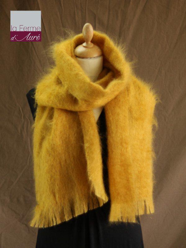 Grande écharpe laine mohair jaune moutarde - Mohair Ferme d'Auré