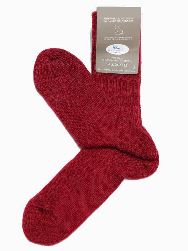 Chaussettes chaudes laine mohair rouge
