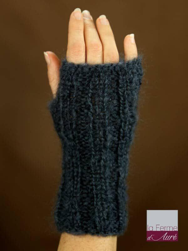 Mitaines laine mohair gris ardoise tricot main