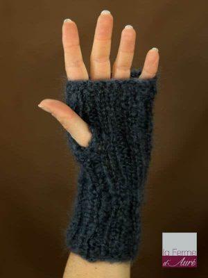 Mitaines laine mohair gris ardoise vue tricot main