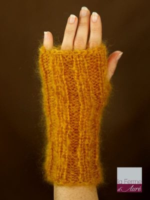 Mitaines laine mohair jaune moutarde