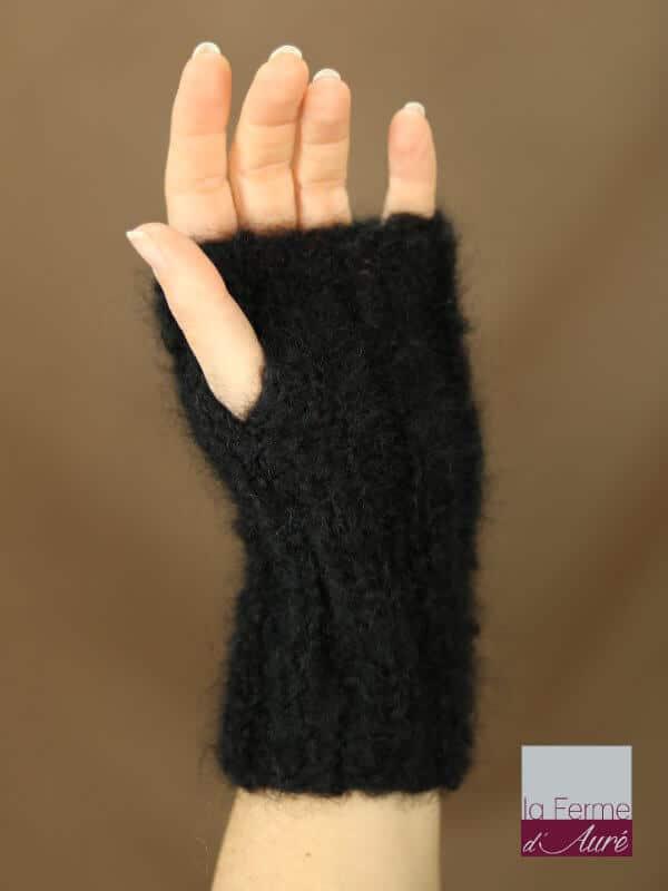 Mitaines laine mohair noir tricot fermier