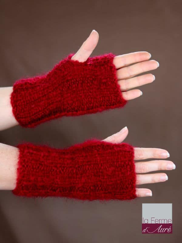Mitaines laine mohair tricot main rouge grenade