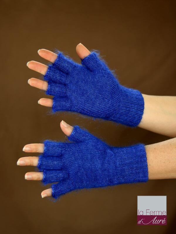 Mitaines laine mohair et soie bleu outremer
