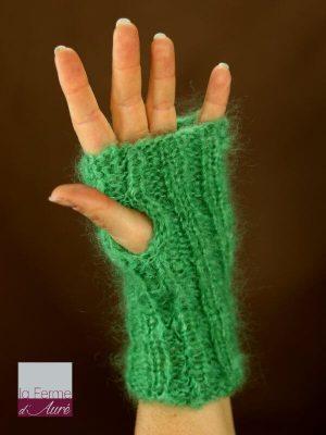 Mitaines laine mohair vert jade