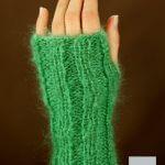 Mitaine laine mohair vert jade dos de maine