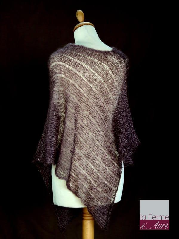Poncho laine mohair et soie marron bison tricot main vue de dos