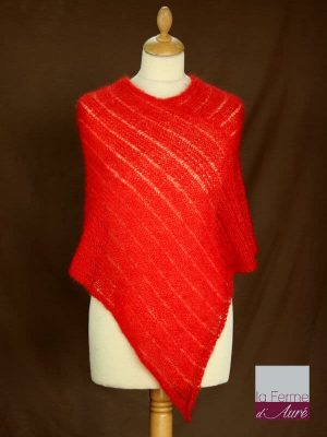 Poncho laine mohair et soie marron rouge ecarlate tricot main vue de face
