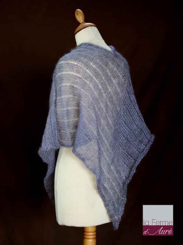 Poncho laine mohair et soie gris hibou tricot main vue de dos