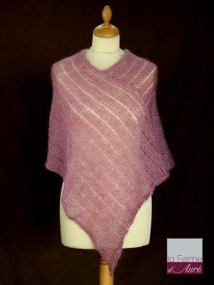 Poncho laine mohair et soie vieux rose tricot main vue de face