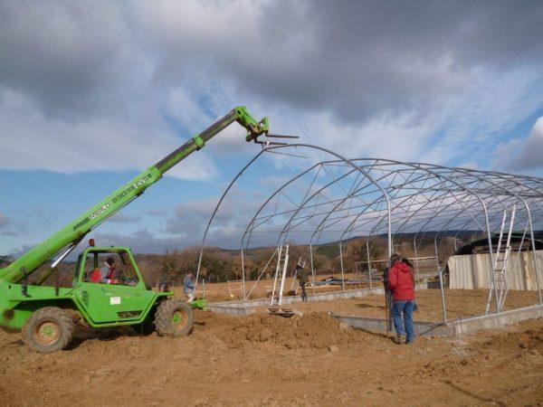Construction chevrerie de la Ferme d'Auré, son histoire
