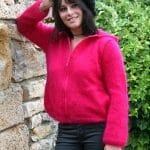 modele tricot gilet à capuche en mohair