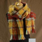 Grande écharpe laine mohair carreaux - Mohair Ferme d'Auré