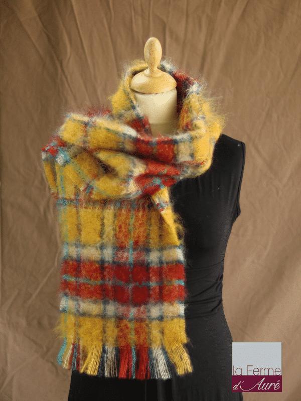 écharpe laine mohair et soie à carreaux petit modele - Mohair ferme d'Auré