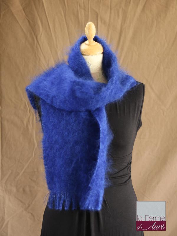 echarpe laine mohair et soie bleu klein petit modele