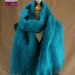 Grande écharpe laine mohair bleu lagon - Mohaire ferme d'Auré