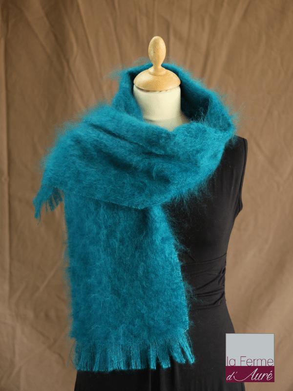 echarpe en laine mohair et soie bleu lagon petit modele - Mohair Ferme