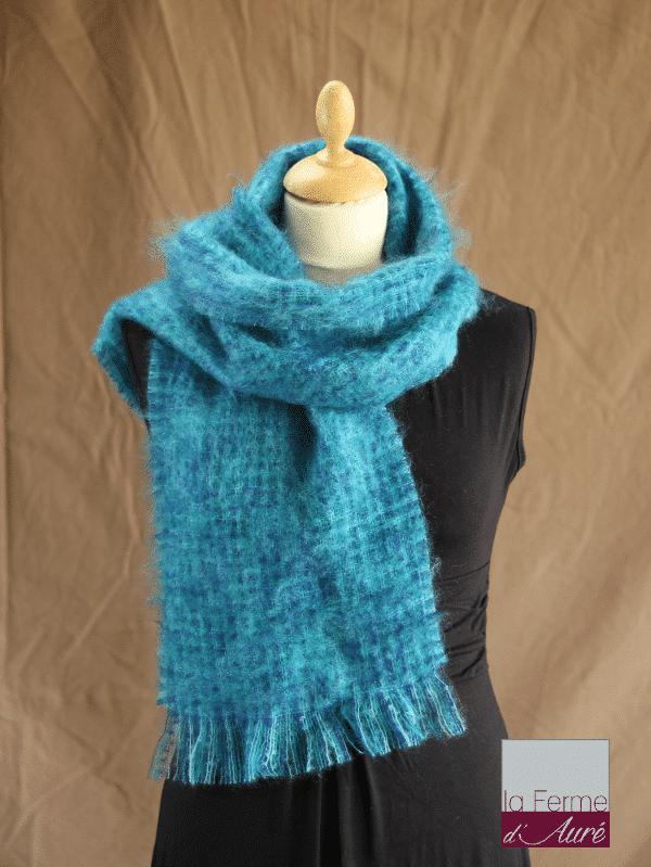 echarpe laine mohair et soie chiné bleu - Mohair Ferme d'Auré