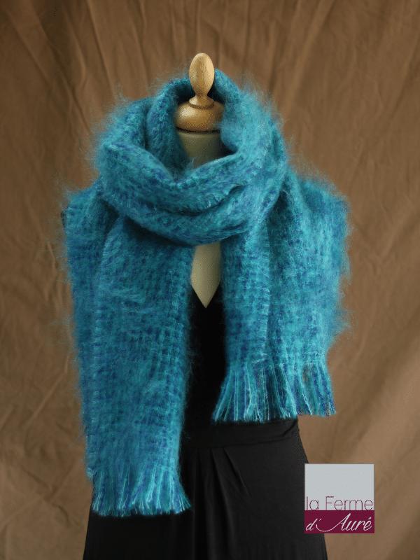 Grande écharpe laine mohair chiné bleu vert - Mohair Ferme d'Auré