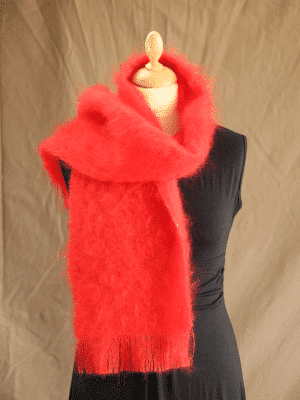echarpe laine mohair rouge ecarlate petit modele