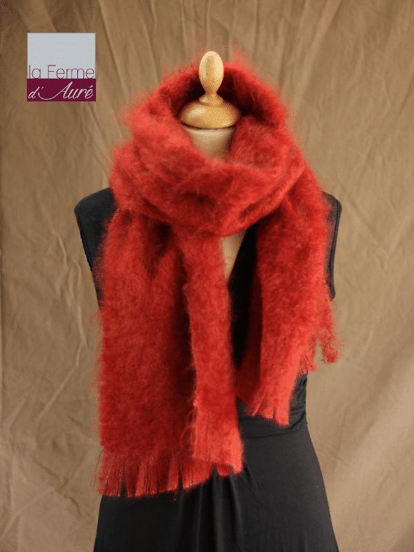 Grande écharpe laine mohair roux écureuil - Mohair Ferme d'Auré