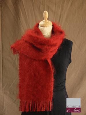 écharpe laine mohair et soie roux écureuil petit modele - Mohair Ferme d'Auré