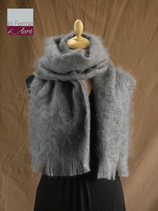 Grande écharpe laine mohair gris orage - Mohair Ferme d'Auré