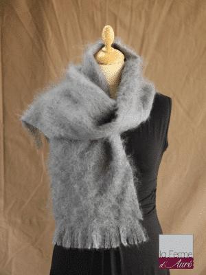 echarpe en laine mohair gris orage - Mohair Ferme d'Auré