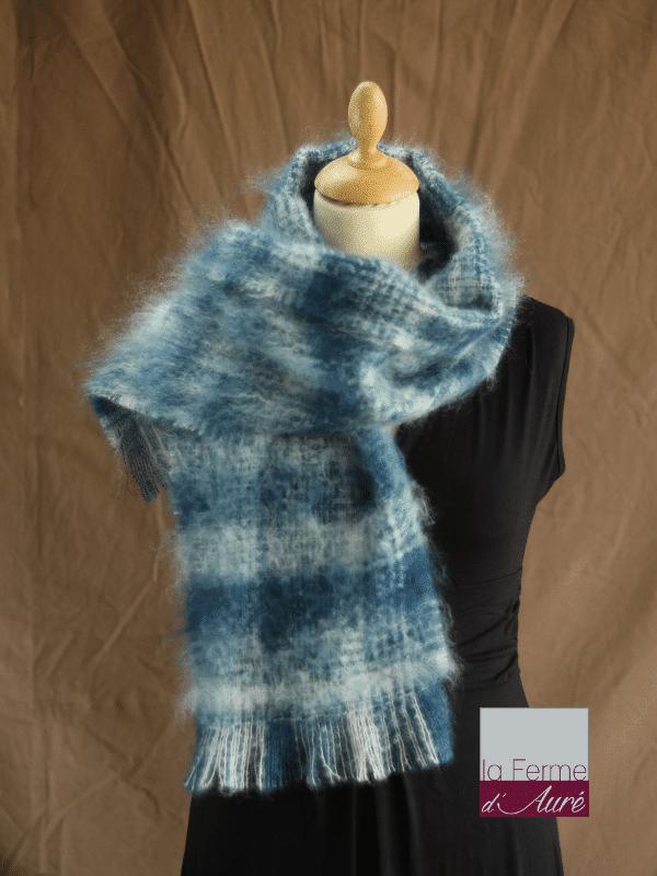écharpe laine mohair bleu/blanc petit modele - Mohair Ferme d'Auré