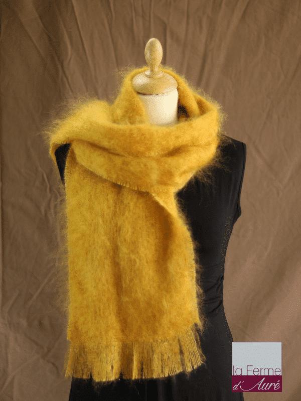 echarpe laine mohair et soie moutarde petit modele - Mohair Ferme d'Auré