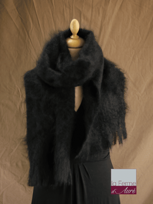 Grande écharpe laine mohair noir - Mohair Ferme d'Auré