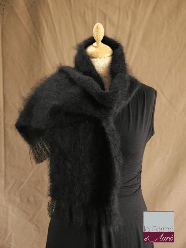 écharpe laine mohair noir petit modele - Mohair Ferme d'Auré